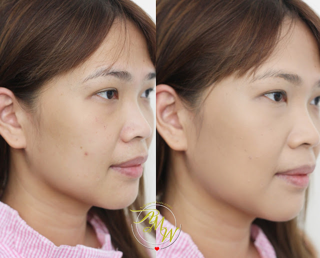 a before and after photo of Kanebo Luster Cream Foundation Review in Ochre D by Nikki Tiu of www.askmewhats.com