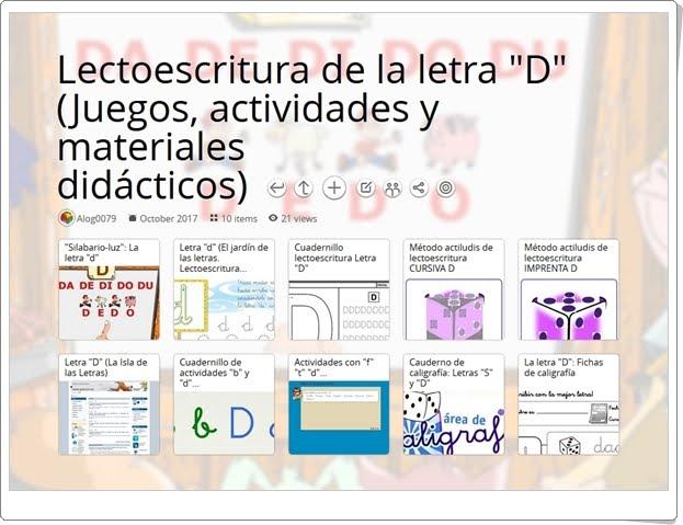 """""""11 Juegos, actividades y materiales para el ejercicio de la LETRA D"""""""
