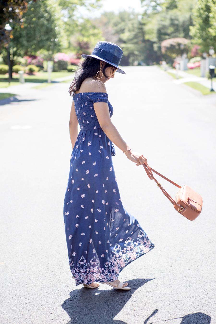 smocked, maxi dress, off the shoulder, OTS, feminine style, style blog, petite blogger, maxi dress, affordable style, targetstyle, mytargetstyle, summer fashion, petite hacks, petite style tips, personal style, feminine dresses