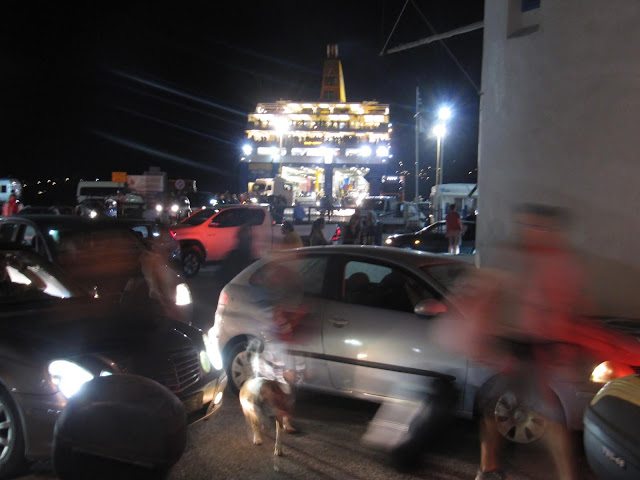 Port Chaos on Paros at night