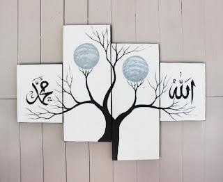 contoh lukisan dinding kaligrafi hitam putih dan pohon yang keren