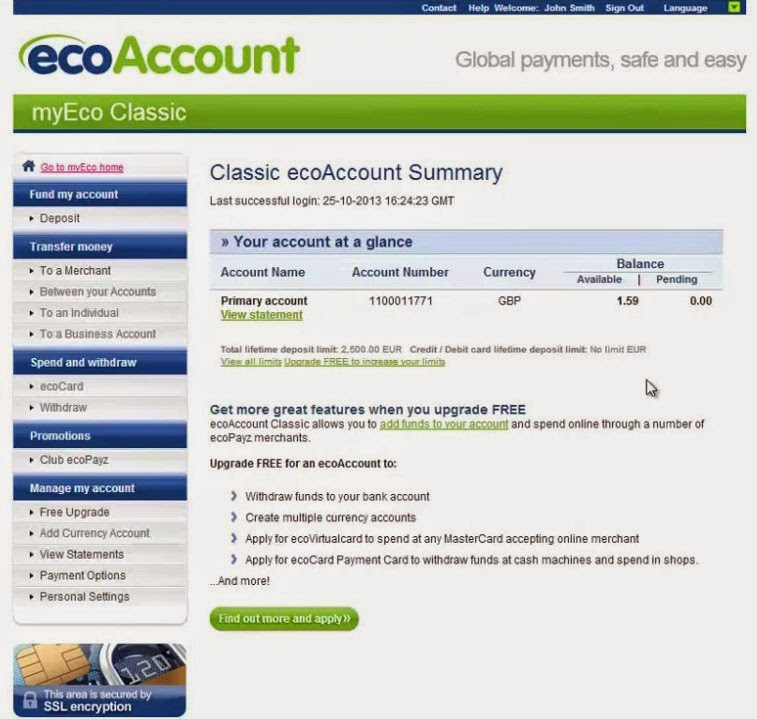 ecoPayz Account Summary Screen