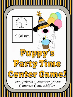 http://www.teacherspayteachers.com/Product/New-Years-Themed-Telling-Time-Center-Game-Puppys-Party-Time-1023331