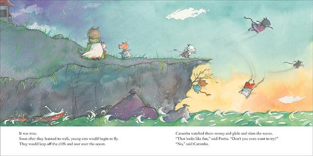 Página interior del cuento Caramba ilustrado por la ilustradora canadiense Marie Louise Gay