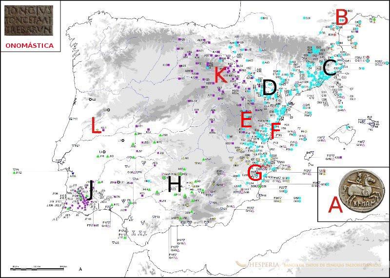 Proyecto Hesperia, mapa de las monedas e inscripciones paleohispánicas, clasificadas según zonas epigráficas y lingüísticas.