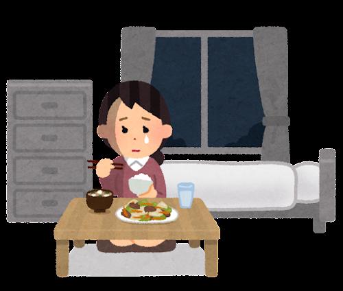泣きながらご飯を食べる人のイラスト(女性)