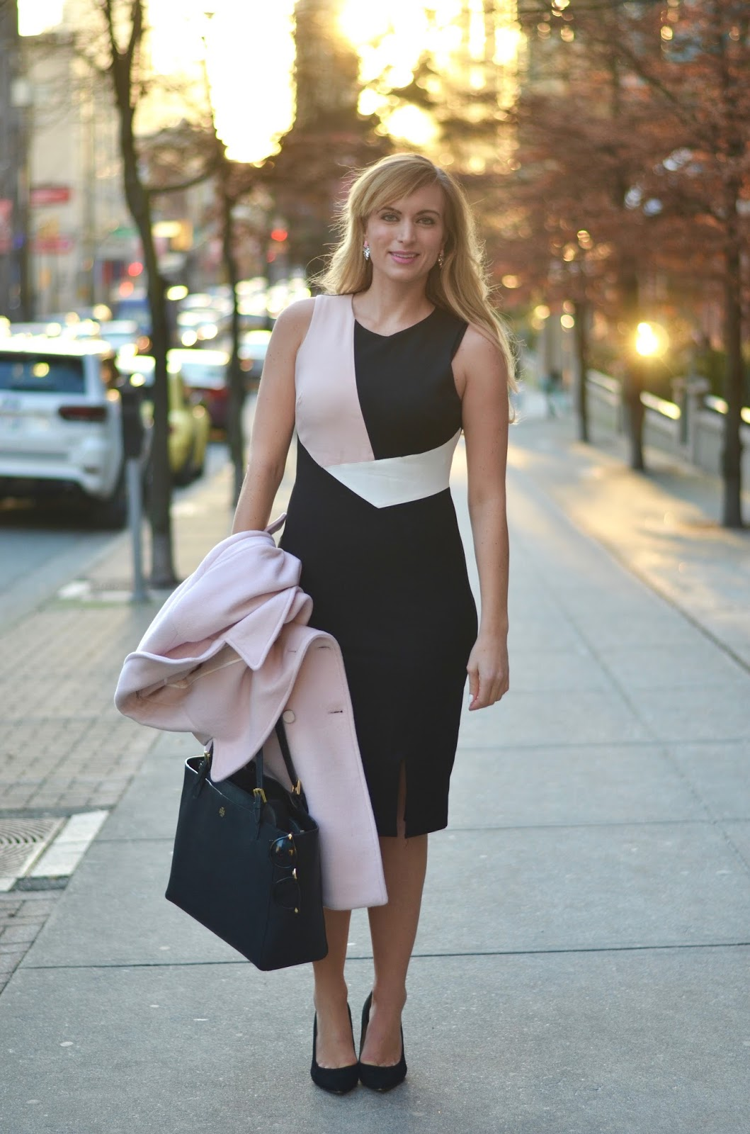 black work day dress with pastel pink detail