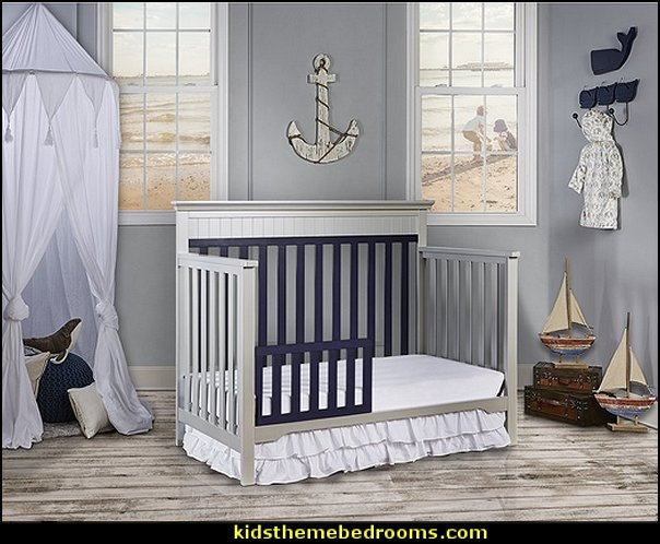 Chesapeake 5-in-1 Convertible Crib  nautical baby bedroom decorating ideas - nautical nursery decor - sailboat nursery decor - nautical nursery wall decals -