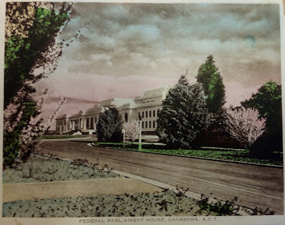 Federal Parliament House, Canberra, from Senate side, hand coloured, Circa 1930s
