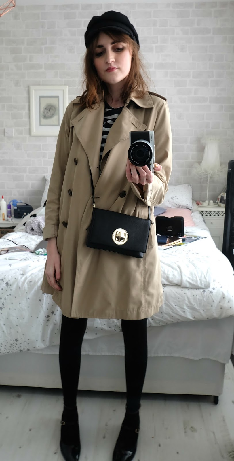 uniqlo trench coat, topshop stripe heart top, new look patent skirt, RAID alexus shoes, nine by savannah miller baker boy hat, kate spade sally bag