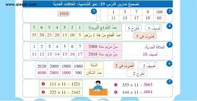 درس نحو التناسبية : العلاقات العددية