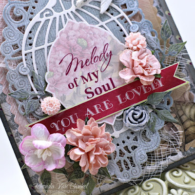 ScrapBerry's Birds of Paradise Collection and February Challenge Inspiration Card designed by Rhonda Van Ginkel