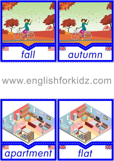 American English vs British English vocabulary flashcards