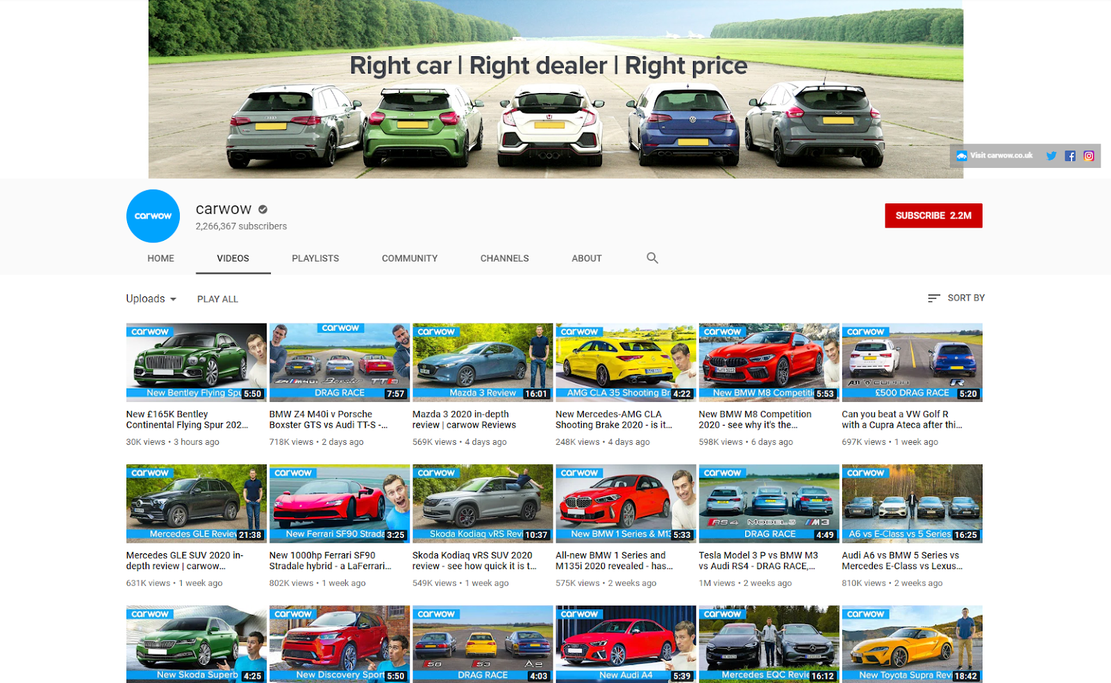 Carwow YouTube .co .uk .com
