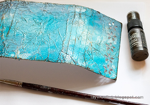 Layers of ink - Blue Textured Wrapped Journal Tutorial by Anna-Karin Evaldsson