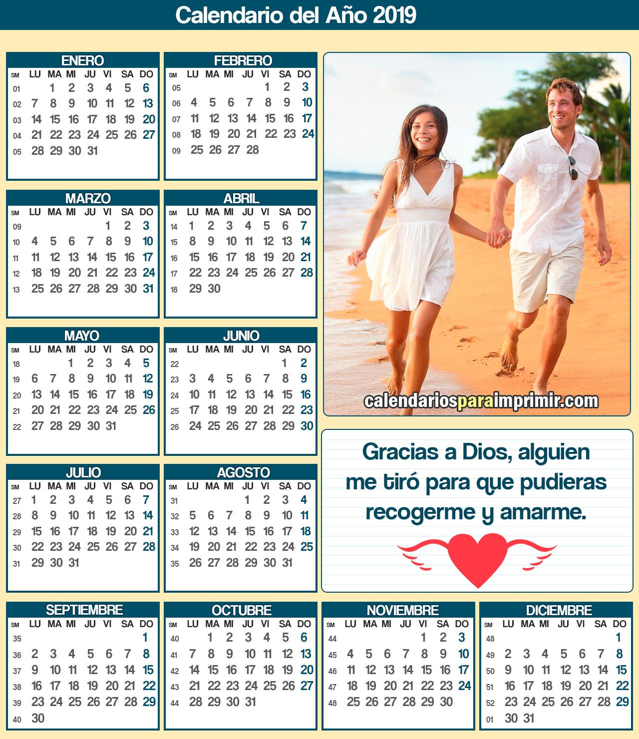 calendario 2019 para imprimir parejas