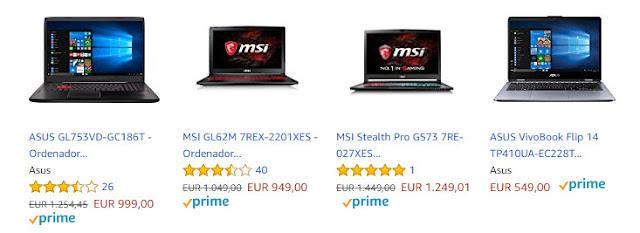 Top 10 ofertas promociones Hasta un 20% de descuento en productos Asus y MSI de Amazon