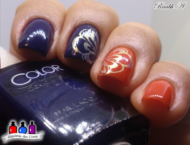 Color Club Safari Garden Collecton, Color Club Nail Robi, Color Club Ticket to Paradise, Laranja, Blurple, homa mani, Harunouta L05, Fingers Crossed, Carimbada, nail art, Raabh A.