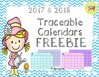 https://www.teacherspayteachers.com/Product/Traceable-Calendars-FREEBIE-2017-2018-2989575