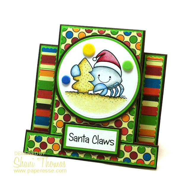Santa Claws Christmas step card, by Paperesse.