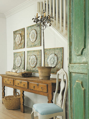 Shannon Bowers Swedish entry foyer green antique wood doors interior design antiques
