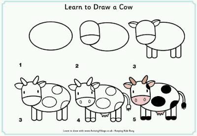 Cara menggambar hewan sapi