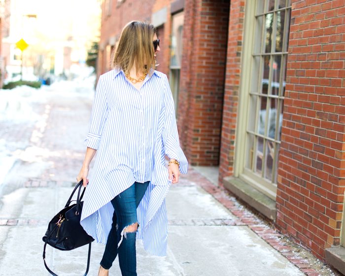 asymmetrical stripe shirt
