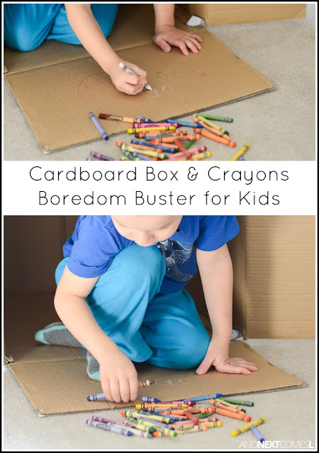 Simple boredom buster for kids using a cardboard box and crayons. Kids will love decorating their own art fort with this process art idea from And Next Comes L