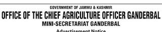 Jobs n Agriculture Department, Ganderbal