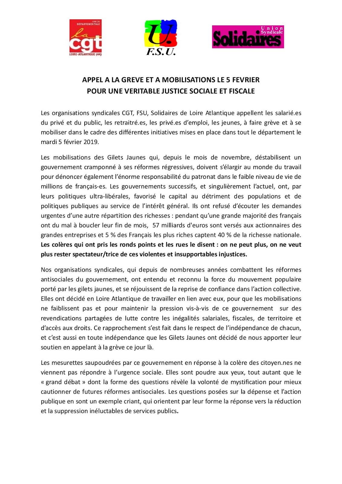 Union Syndicale Solidaires De Loire Atlantique Appel La Grve Et Mobilisation Le 5 Fvrier