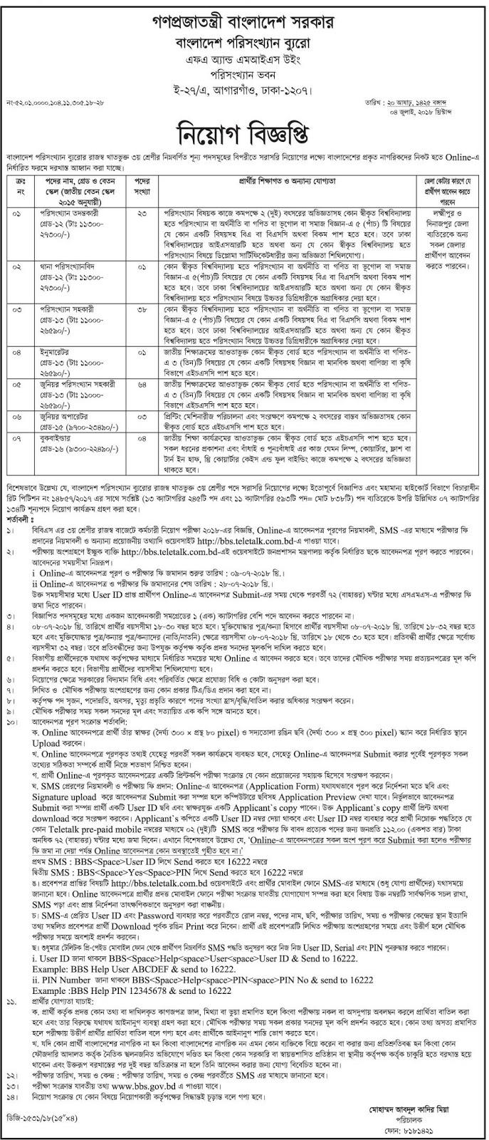 Bangladesh Bureau of Statistics(BBS) Job Circular 2018
