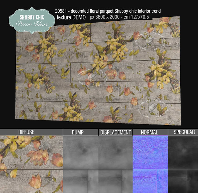 20581 Shabby chic home interior trends floral parquet texture seamless