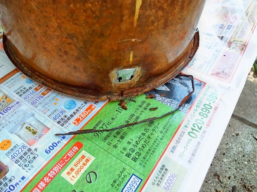 洗い桶の鋳掛修理 耳の鉄芯 薬缶の修理