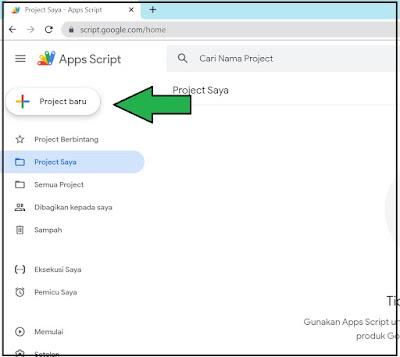tombol membuat project baru google script