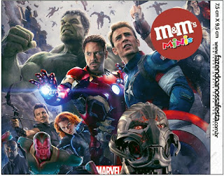 Etiqueta M&M de Vengadores para imprimir gratis.