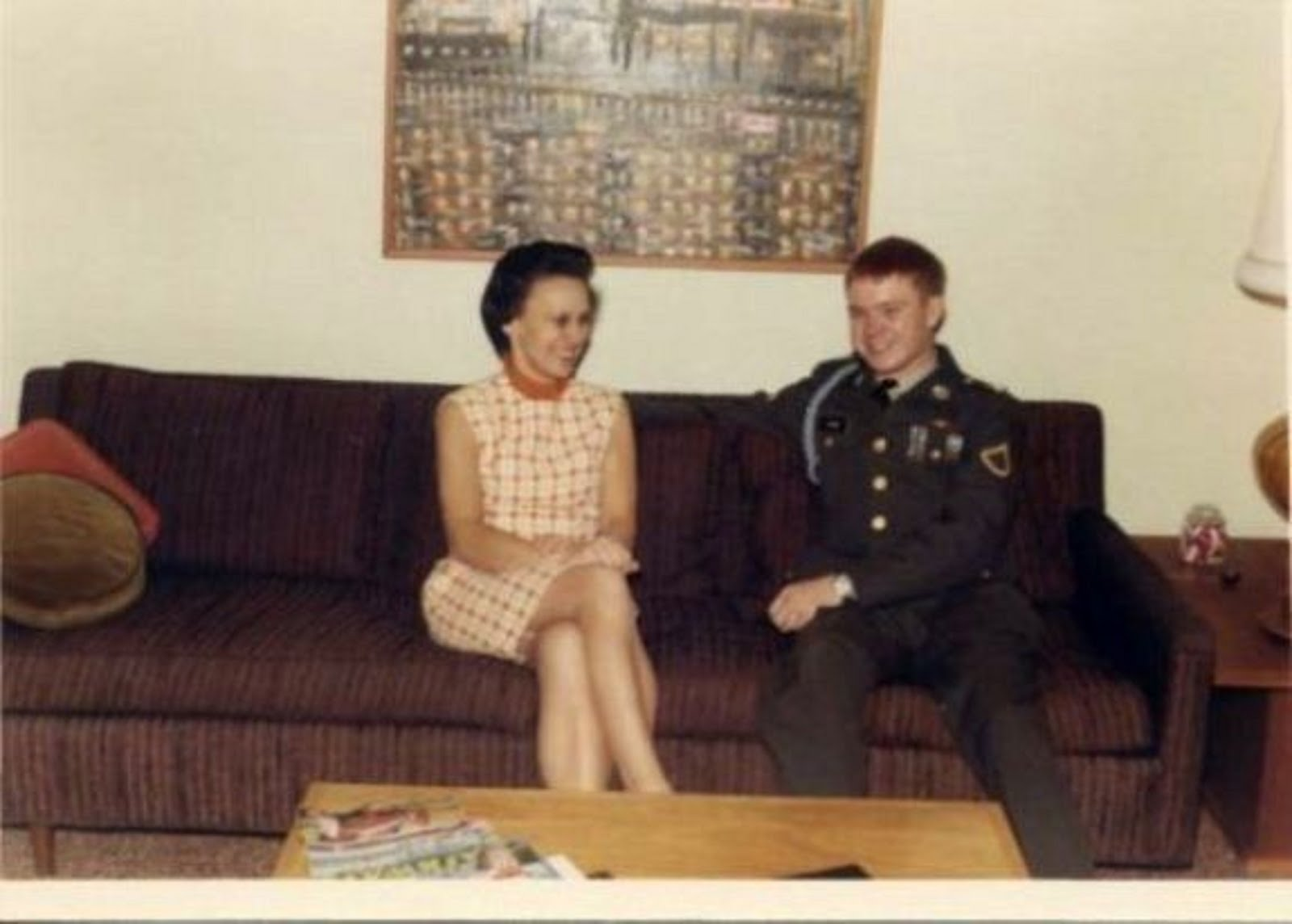 MY MOM IRENE V. PAYNE WITH ME PFC GREG PAYNE ON IN UNIFORM AND ON MY WAY TO VIETNAM - JAN 19, 1969