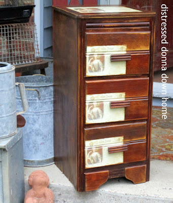 furniture makeover, Mod Podge, French label, dresser