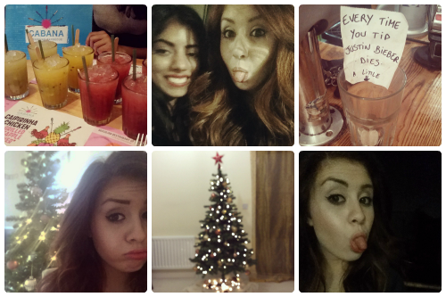 a selection of Instagram shots from francescasoph (francesca sophia); eight drinks sitting on a table at Cabana; two girls pulling faces at the camera; a glass with a sign reading 'every time you tip, justin bieber dies a little'; a girl pouting in front of a christmas tree; a christmas tree, lights glistening; a girl poking her tongue out at the camera.