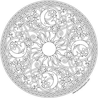 Celestial mandala to print and color- available in jpg and transparent png formats