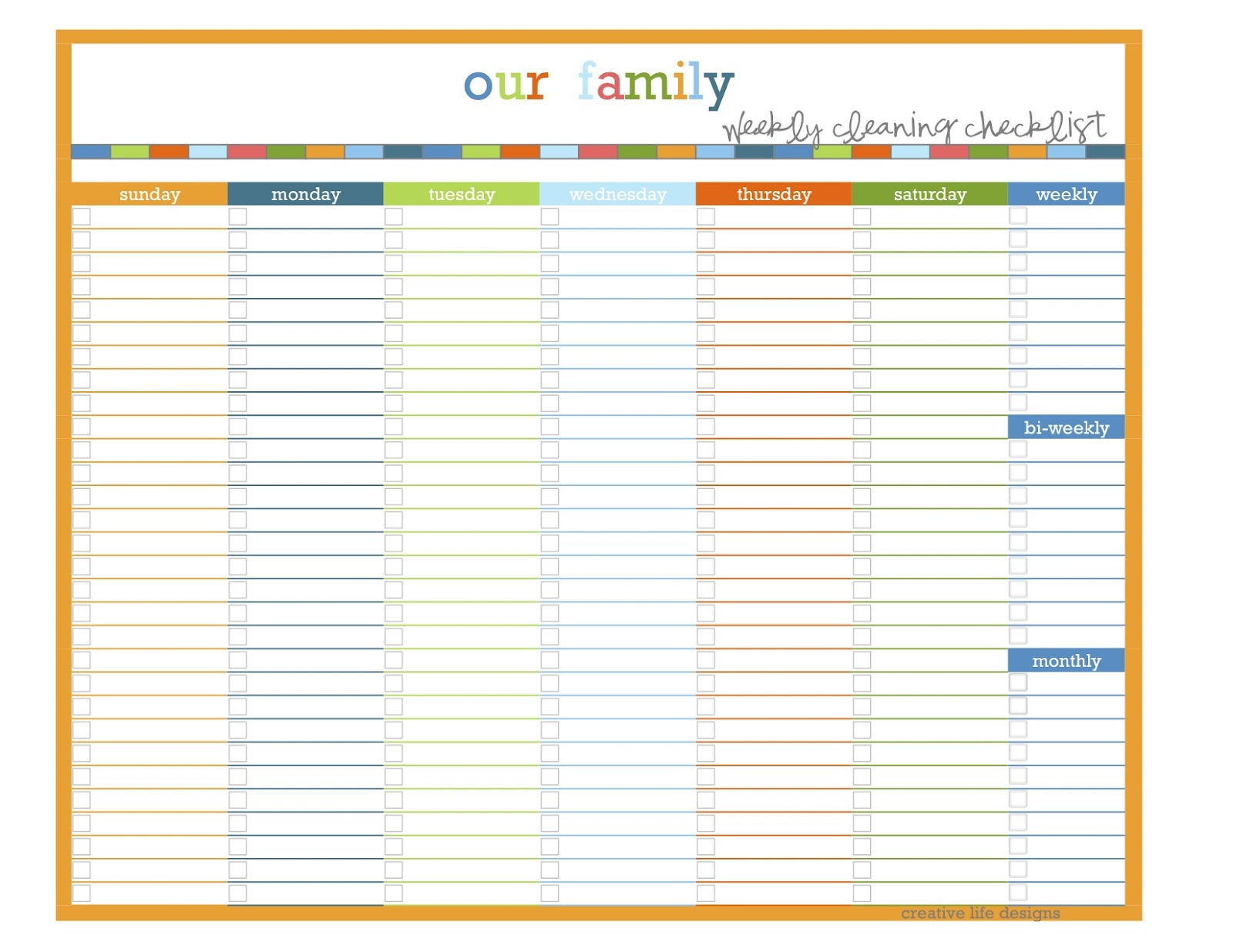 Creative life designs home management binder makeover for Domestic cleaning schedule template