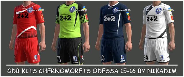 PES 2013 FC Chornomorets Odesa Kit 2015-2016