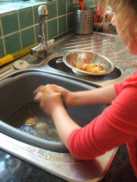washing new potatoes dug up from allotment