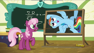 Rainbow Dash clings to Cheerilee's blackboard