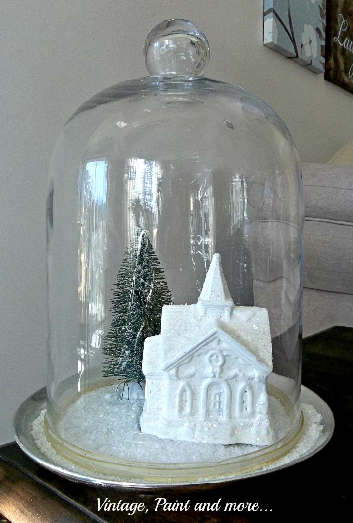 Vintage, Paint and more... a thrift store cloche transformed into a Christmas scene with a diy painted Dollar store church  and bottle brush tree