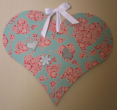 heart-shaped fabric covered magnetic board