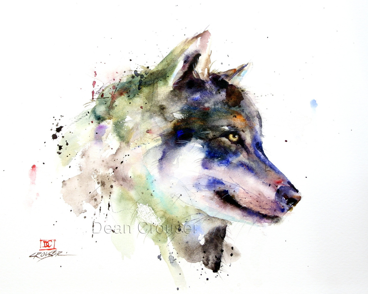 01-Wolf-Sentry-Dean-Crouser-A-Love-of-the-Outdoors-Spawns-Animal-Watercolor-Paintings-www-designstack-co