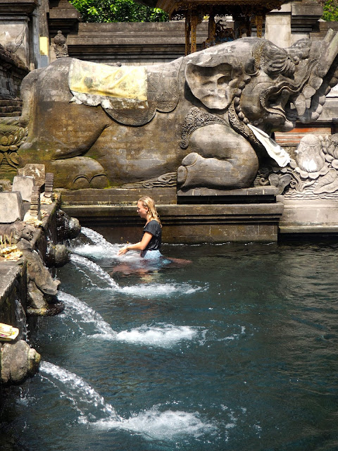 Bathing ritual in Tirta Empul water temple, near Ubud, Bali, Indonesia