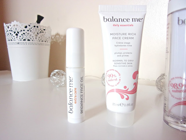 Balance Me Moisture Cream and facial oil