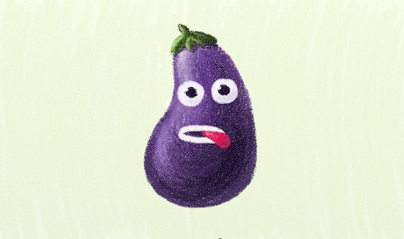 Funny violet eggplant character