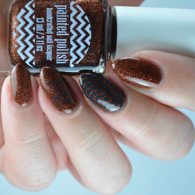 brown holographic nail polish with stamping